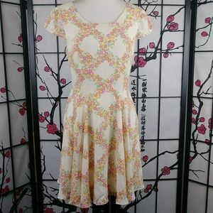 Under Skies Floral Cap Sleeve Fit & Flare Dress